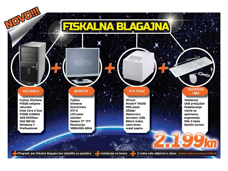 Microteam Fiskalna blagajna komplet Računalo FS P3520 4Gb 160Gb Win7 Pro + 17