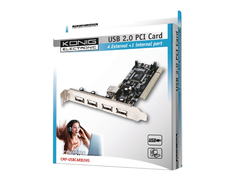 Konig kontroler PCI USB2.0 4+1 port