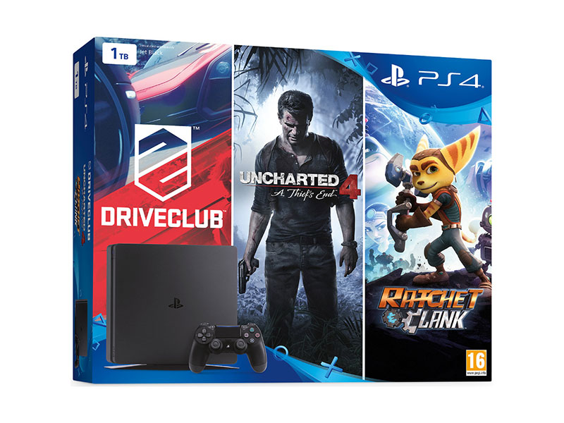 Playstation 4 1Tb Slim konzola + Uncharted 4 + Driveclub + The Last of Us